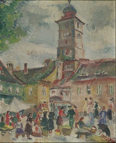 reges markttreiben in sibiu vor dem rathaus mit seinem prägnanten turm by ecaterina cristescu delighioz