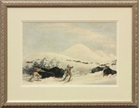 hunting buffalo on snow shoes by george catlin