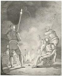 soldaten im gespräch am lagerfeuer by detlev konrad blunck