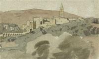 südfranzösische landschaft mit mittelalterlichem städtchen by felix-hippolyte lanoue
