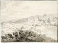 felsige landschaft mit rindern und heuwagen im hintergrund by hermanus van brussel