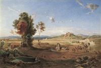 orientalische landschaft mit einer karawane by august löffler