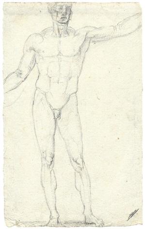 stehender männlicher akt mit angehobenen armen by antonio canova