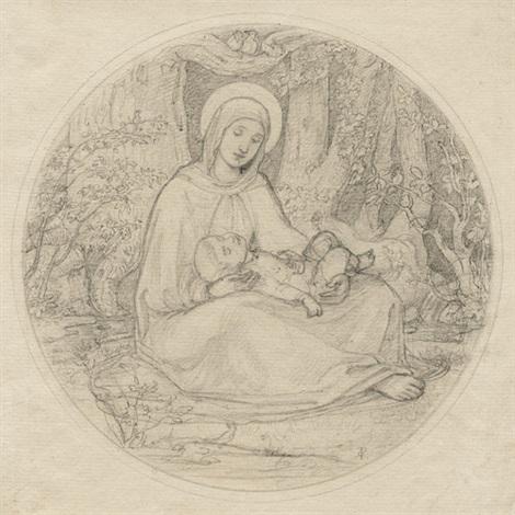 maria mit dem kinde unter bäumen sitzend zwei engel im kahn mit einem kind 2 works by carl gottlieb peschel