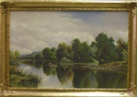 landscape with rowboat by frederick d. ogden