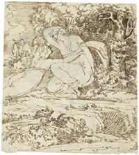 mythologische szene mit zwei weiblichen figuren in landschaft by antonio basoli