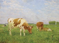 cows resting in a pasture by adolphe jacobs