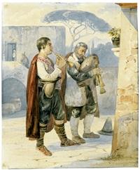 zwei pifferari, vor einem andachtsbild musizierend by carl (karl) wilhelm götzloff