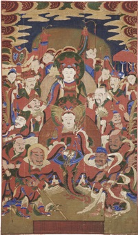 tongjin bodhisattva holding a lotus at the top center above the youthful figure of weituo by anonymous-korean (19)