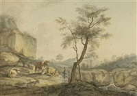 landschaft mit hirten und tieren (+ another, similar; pair) by johann adam ackermann