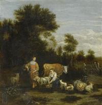 hirtinnen mit tieren auf der weide by johannes van der bent