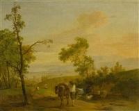 bauer mit seinem pferd und seinen kühen vor einer weiten landschaft by jean voltaire huber