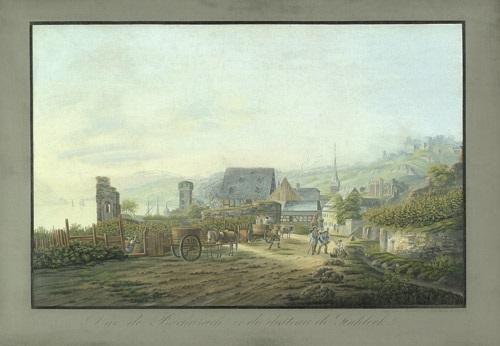 vûe de bacharach et du château de stahleck by johann ludwig louis bleuler