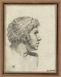 porträt eines mannes mit kräftigem, lockigen haar im profil (study) by detlev konrad blunck