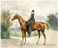 bildnis einer kunstreiterin zu pferd by joseph heicke