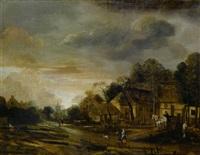dorflandschaft bei sonnenuntergang by anthonie van borssom