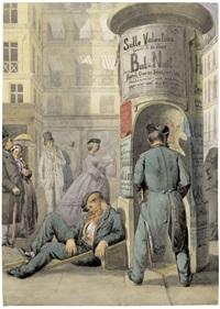 pariser straßenszene mit litfaßsäule by charles hoguet