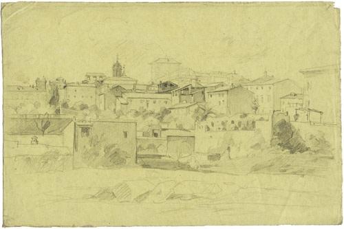 eine gruppe von häusern in rom im hintergrund die kirche san carlo alle quattro fontane by théodore claude félix caruelle d aligny
