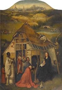 anbetung der könige mit jerusalem im hintergrund by hieronymus bosch