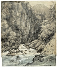 der murgbach im murgtal bei st. gallen (+ blick von den alphängen auf einen schweizer gebirgssee (murgsee?), verso) by julius jacob the elder