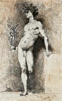an ein podest gelehnter jüngling mit einer statue der fortuna in der hand by mariano josé maría bernardo fortuny y carbó