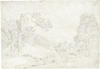 landschaft bei berchtesgaden, auf dem weg zum königssee (+ landschaft, pencil sketch, verso) by heinrich reinhold