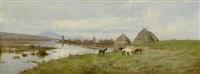 weite flusslandschaft mit pferden by pietro barucci