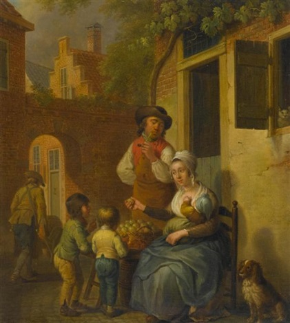 familie vor dem haus by cornelis van cuylenburg