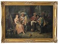 historisierende wirtshausszene mit weintrinkern und tänzerin mit tamburin by wilhelm giessel
