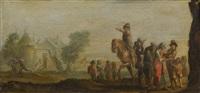 reiter und figuren vor einer weiten landschaft (+ figuren vor einer stadtmauer; pair) by jacques callot