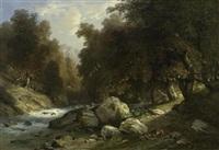 waldlandschaft mit einem fuchs am wasser by jacques dunant