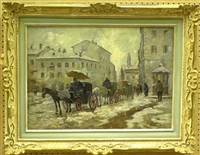 winter street scene with carriages by colombo