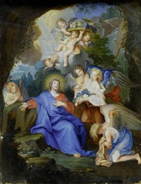 christus in der wüste von engeln bedient by charles-antoine coypel