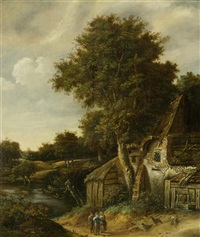 landschaft mit bäumen und alten bauernhäusern an einem fluss by cornelis gerritsz decker