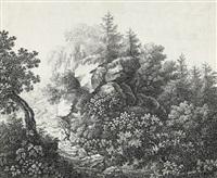 waldlandschaft mit felsblöcken, im vordergrund ein wanderer by franz joseph leopold