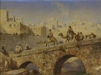 kamelreiter überqueren eine brücke einer orientalischen stadt by louis tesson