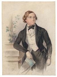 bildnis eines jungen mannes neben einer säule by franz dobiaschofsky