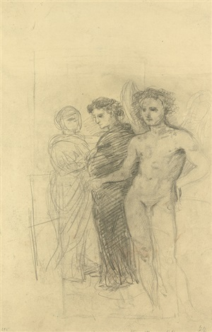 studienblatt mit drei stehenden figuren ein engel ein mann in dunklem mantel und eine frau im gespräch stehender akt verso by hans von marées