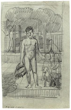 knabe mit korb und andere gestalten in einer landschaft stehender knabe mit korb im hintergrund ein fährmann verso by hans von marées