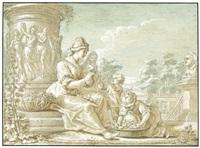 allegorie des sommers: junge frau mit zwei kindern beim blumenbinden in einem palastgarten by blaise nicolas le sueur