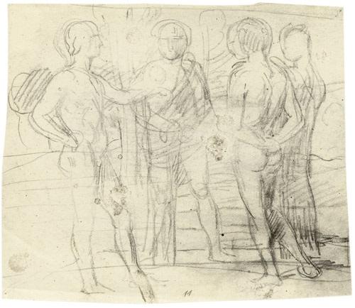parklandschaft mit vier jünglingen im gespräch drei figuren verso by hans von marées
