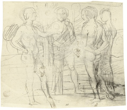 parklandschaft mit vier jünglingen im gespräch drei figuren verso by hans von marees