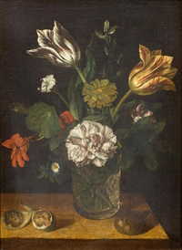 still life of flowers with figs on a table by german school (18)