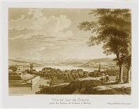 vue d'lac de zurich prise du bastion de la katze à zurich (after drawing by j. wetzel) (from voyage pittoresque aux lacs de zurich, zoug, lowertz, egeri et wallenstadt) by franz hegi