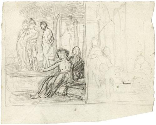 skizzenblatt mit zwei szenen figuren in einem hain und grablegung drei figuren unter bäumen verso by hans von marées