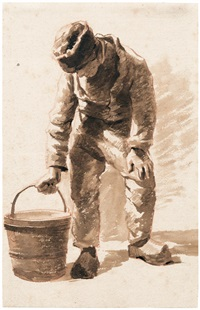 holländischer bauernknabe mit eimer by jan hulswit