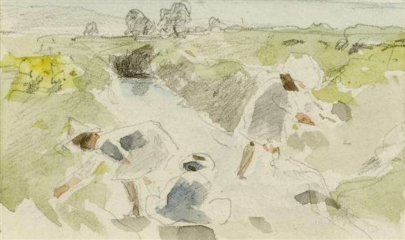 blatt aus einem skizzenbuch: landschaftsskizze (+ figuren an einem tisch im garten, verso) by albert anker