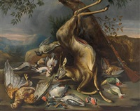 pair of works: hunting still life with partridge and deer by anonymous-german (18)
