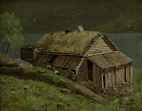 hütte am ufer des hardanger fjords in norwegen by hans schleich