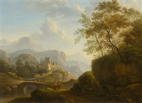 pair of works: broad landscapes with figures by german school (18)